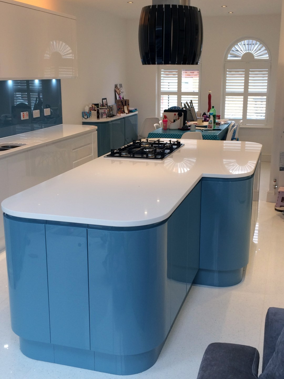 Handleless White Amp Blue German Kitchen Bishops Stortford