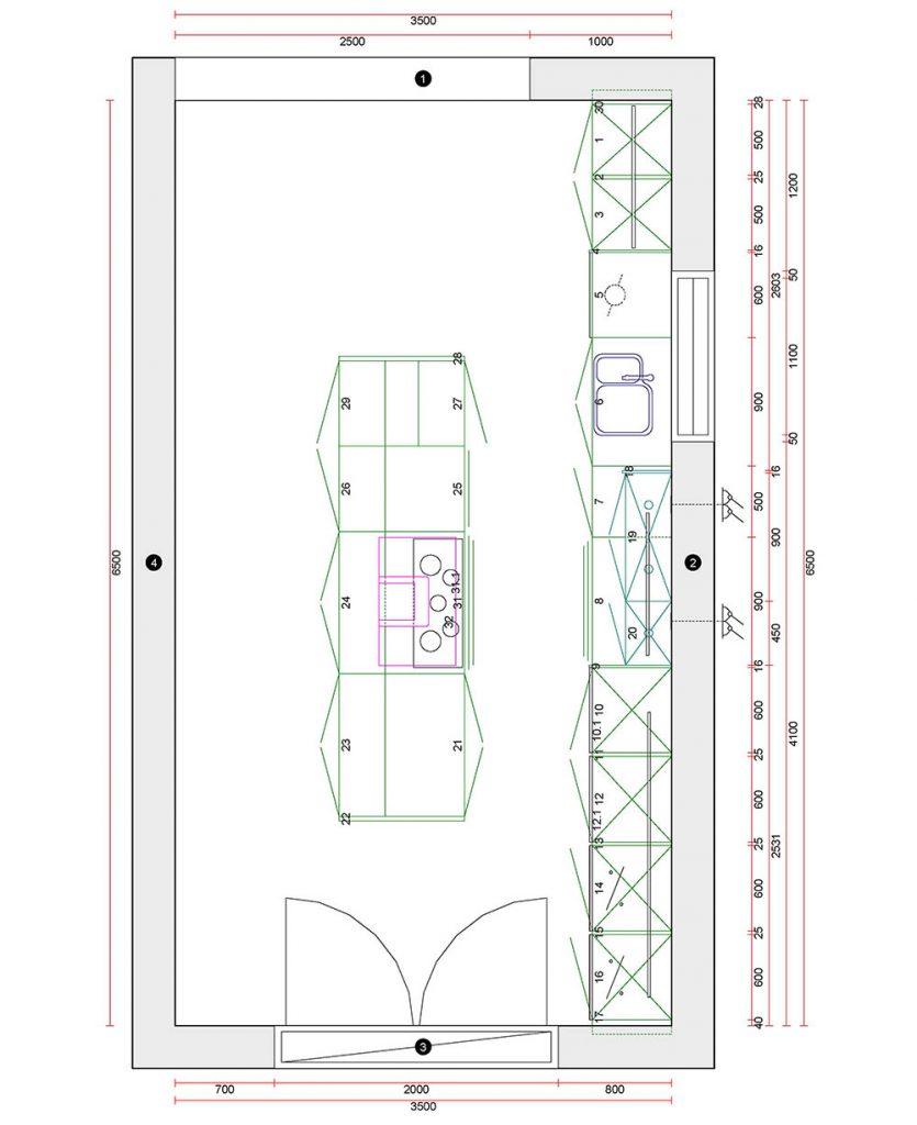 white high gloss kitchen buntingford 2d plan