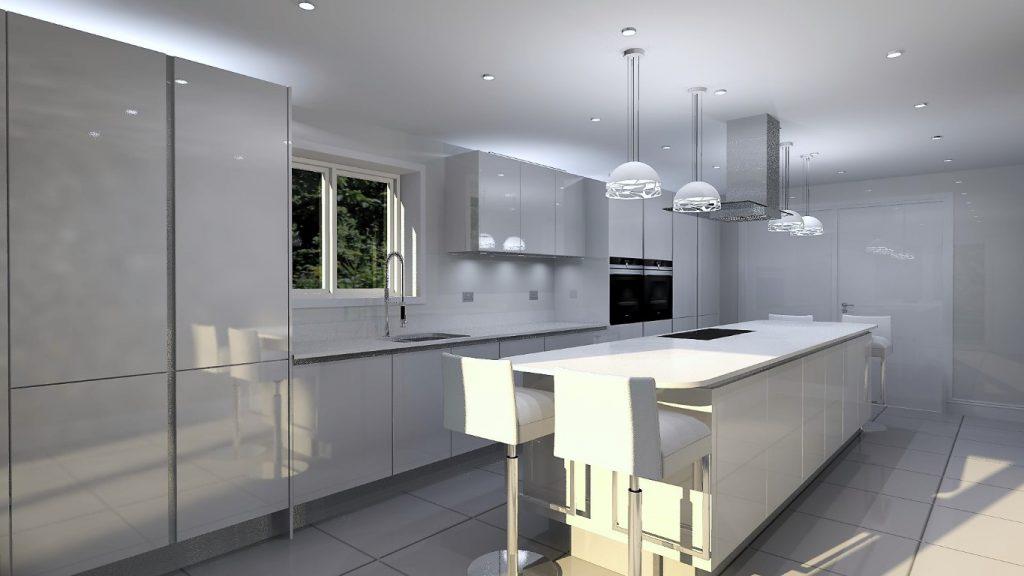 white high gloss kitchen 3d render design