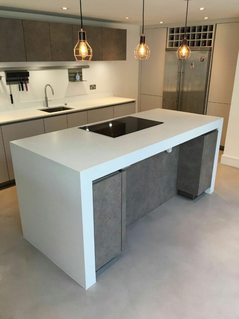 Matt Taupe Concrete Handleless Kitchen Borough Market
