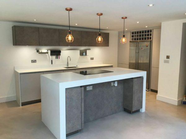 matt taupe and concrete german kitchen installed in borough market