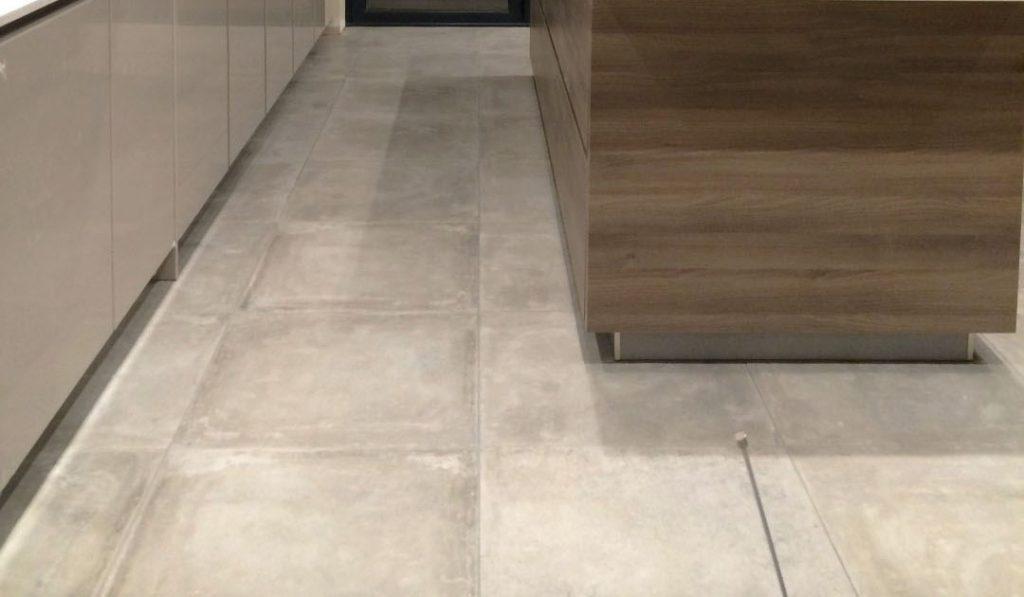 german kitchen with stone flooring