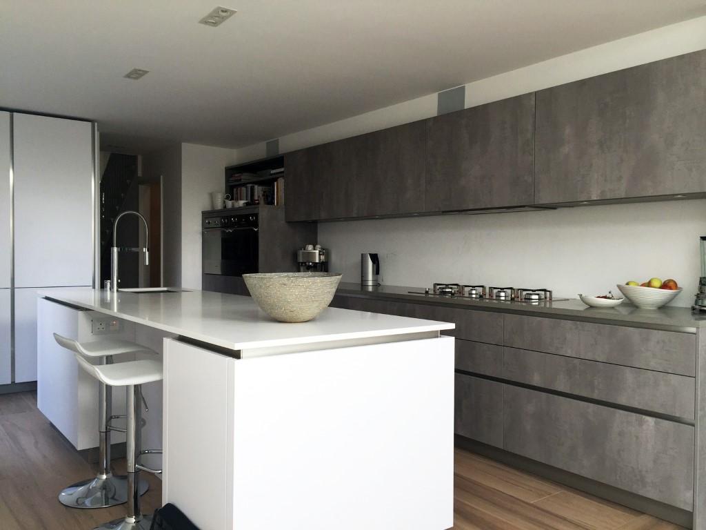 Concrete And Polar White Streatham Hill Blax Kitchens Ltd