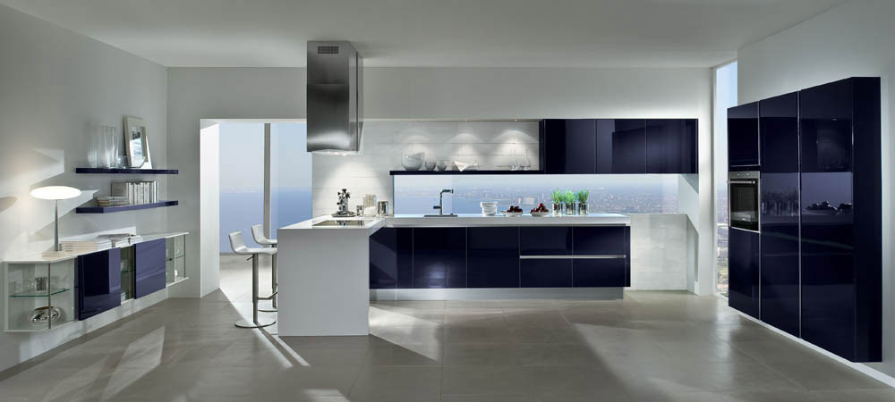 german kitchen with dark blue high gloss cabinets