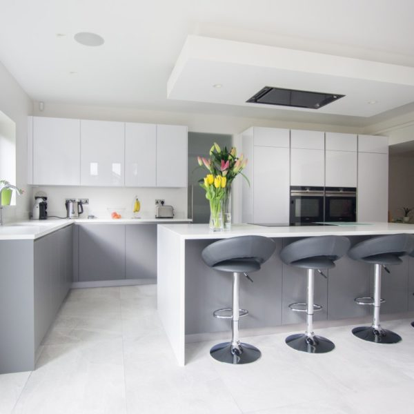 White Kitchen Cabinets High Gloss: High Gloss White & Matt Grey - Hatfield