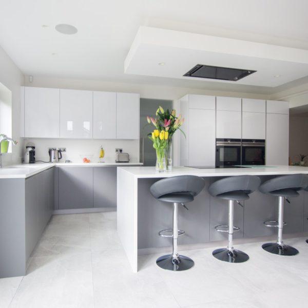 High Gloss Gray Kitchen Cabinets: High Gloss White & Matt Grey - Hatfield